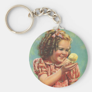 Vintage Child, Happy Smile, Girl with Baby Chick Basic Round Button Keychain