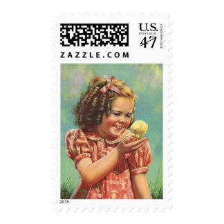 Vintage Child, Happy Smile, Girl with Baby Chick Postage Stamp