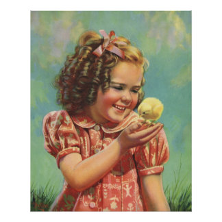 Vintage Child, Happy Smile, Girl with Baby Chick Poster