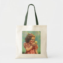 Vintage Child, Happy Smile, Girl with Baby Chick Tote Bag