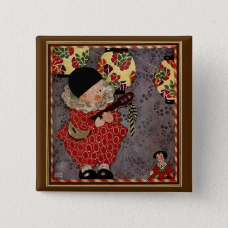 Vintage Child Harlequin, Musician Playing Banjo Button