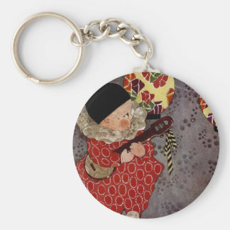 Vintage Child Harlequin, Musician Playing Banjo Keychain