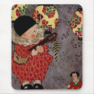 Vintage Child Harlequin, Musician Playing Banjo Mouse Pad