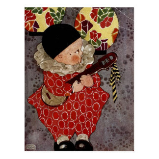 Vintage Child Harlequin, Musician Playing Banjo Postcard