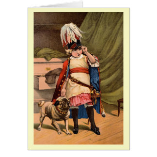 Vintage Child in Costume with Pug Card