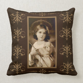 Vintage Child Jesus with Lamb & Hook Throw Pillow
