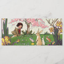 Vintage Child on an Easter Egg Hunt with Animals