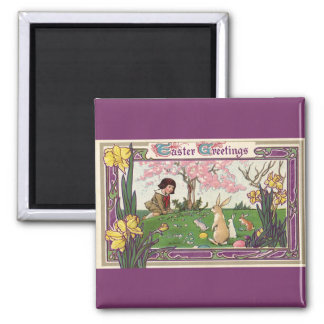 Vintage Child on an Easter Egg Hunt with Animals 2 Inch Square Magnet