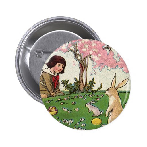 Vintage Child on an Easter Egg Hunt with Animals Button