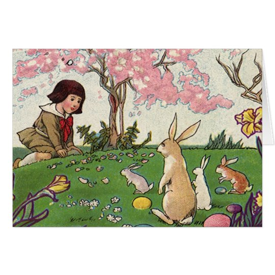 Vintage Child on an Easter Egg Hunt with Animals Card