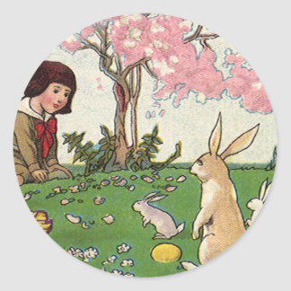 Vintage Child on an Easter Egg Hunt with Animals Classic Round Sticker