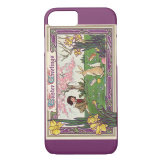 Vintage Child on an Easter Egg Hunt with Animals iPhone 7 Case