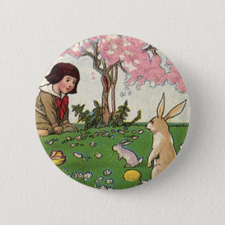 Vintage Child on an Easter Egg Hunt with Animals Pinback Button