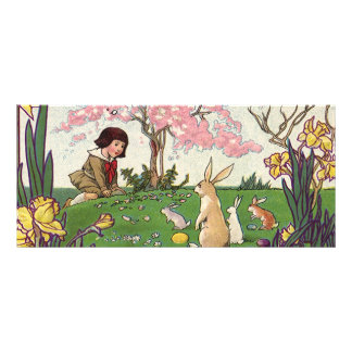 Vintage Child on an Easter Egg Hunt with Animals Rack Card
