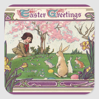 Vintage Child on an Easter Egg Hunt with Animals Square Sticker