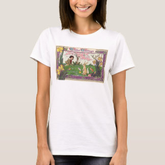 Vintage Child on an Easter Egg Hunt with Animals T-Shirt