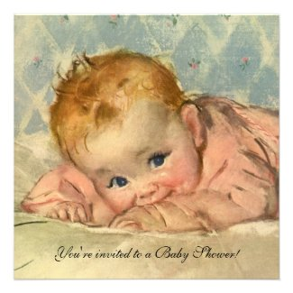 Vintage Child on Blanket, Baby Girl baby Shower Personalized Invitation