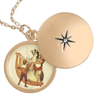 Vintage Child on Rocking Horse Gold Plated Necklace