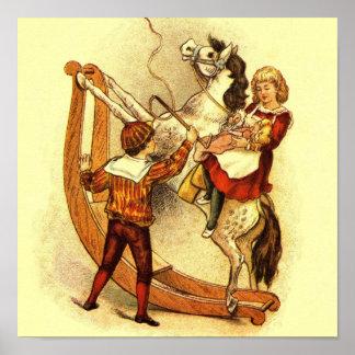 Vintage Child on Rocking Horse Poster