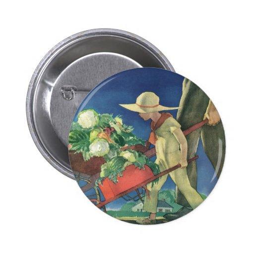 Vintage Child, Organic Gardening; Victory Garden 2 Inch Round Button