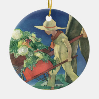 Vintage Child, Organic Gardening; Victory Garden Double-Sided Ceramic Round Christmas Ornament