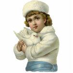 """Vintage Child Photo Sculpure Statuette<br><div class=""""desc"""">Sweet victorian child holding dove photo sculpture.</div>"""