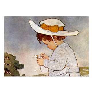 Vintage child picking daisy flowers large business cards (Pack of 100)