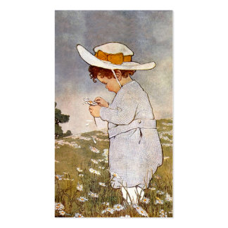 Vintage child picking daisy flowers Double-Sided standard business cards (Pack of 100)