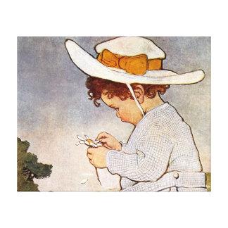 Vintage child picking daisy flowers canvas print