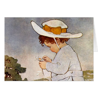 Vintage child picking daisy flowers greeting cards
