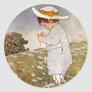 Vintage child picking daisy flowers classic round sticker
