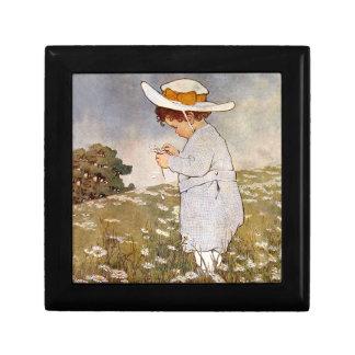 Vintage child picking daisy flowers gift box