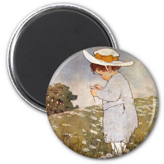 Vintage child picking daisy flowers magnet