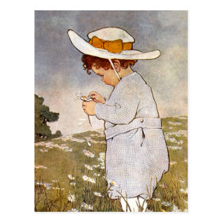 Vintage child picking daisy flowers post card