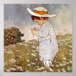 Vintage child picking daisy flowers print