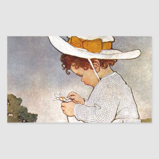 Vintage child picking daisy flowers rectangular sticker