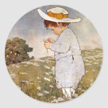 Vintage child picking daisy flowers stickers