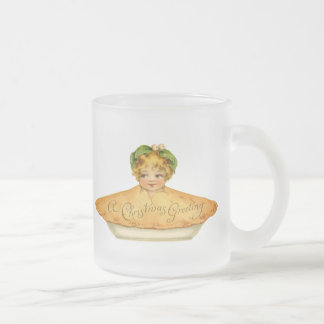 Vintage Child & Pie Frosted Glass Coffee Mug