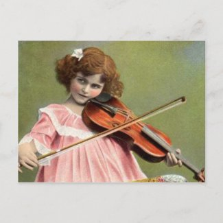Vintage Child Playing Violin Music Postcard postcard
