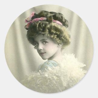 Vintage Child Portrait Classic Round Sticker