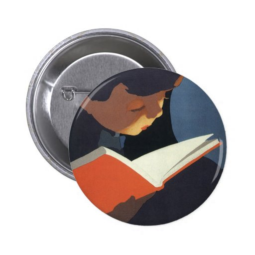 Vintage Child Reading a Book, Back to School Time! Button