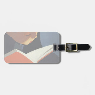 Vintage Child Reading a Book, Back to School Time! Bag Tags