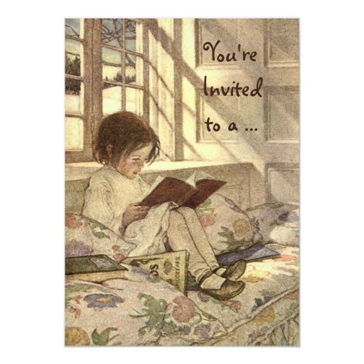 Vintage Child Reading a Book Birthday Party 5x7 Paper Invitation Card