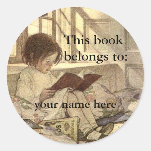 Vintage Child Reading a Book Bookplate Round Sticker