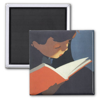Vintage Child Reading a Book From the Library 2 Inch Square Magnet