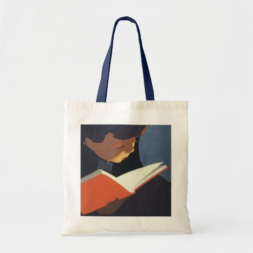 Vintage Child Reading a Book From the Library Tote Bags