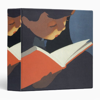 Vintage Child Reading a Book From the Library 3 Ring Binders