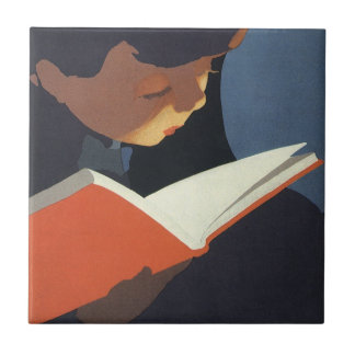 Vintage Child Reading a Book From the Library Ceramic Tile