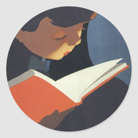 Vintage Child Reading a Book From the Library Classic Round Sticker
