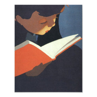 Vintage Child Reading a Book From the Library Custom Invitation